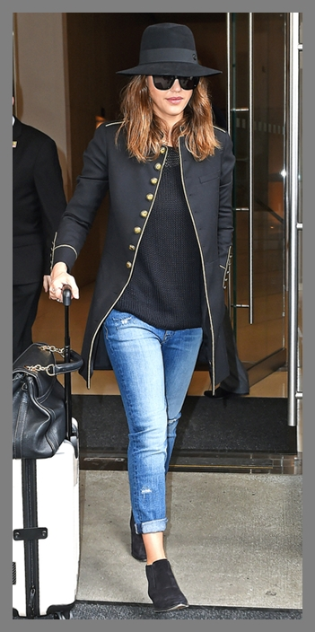 Jessica Alba wears stylish hat as she checks out from the Edition Hotel, NYC